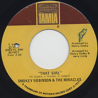 Smokey Robinson & The Miracles / I Don't Blame You At All back