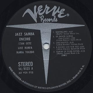 Stan Getz and Luiz Bonfa / Jazz Samba Encore! label