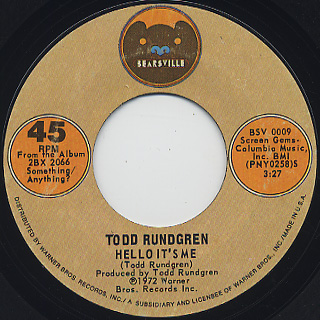 Todd Rundgren / Hello It's Me c/w Cold Morning Light