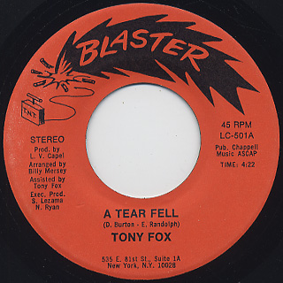 Tony Fox / A Tear Fell c/w A Night For Love