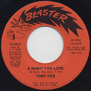 Tony Fox / A Tear Fell c/w A Night For Love back