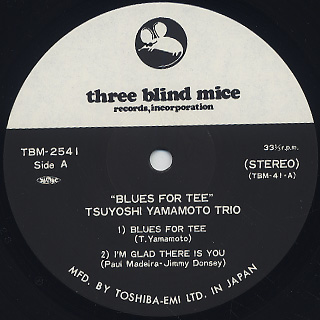 Tsuyoshi Yamamoto Trio / Blues For Tee label