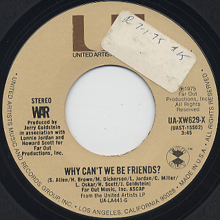 War / Why Can't We Be Friends? c/w In Mazatlan front