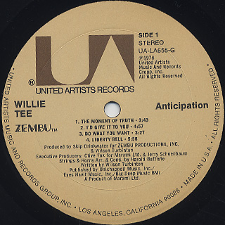 Willie Tee / Anticipation label