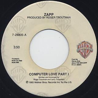 Zapp / Computer Love Part 1 c/w Part II