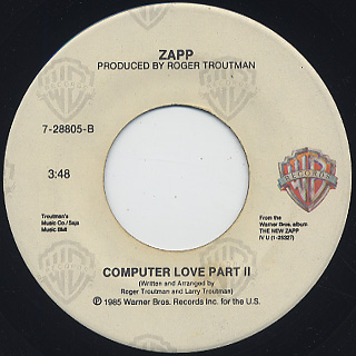 Zapp / Computer Love Part 1 c/w Part II back