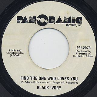 Black Ivory / I've Got My Eye On You c/w Find The One Who Loves You back