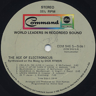 Dick Hyman / The Age Of Electronicus label