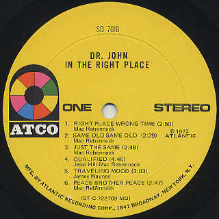 Dr. John / In The Right Place label