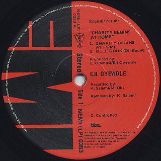 Eji Oyewole / Charity Begins At Home label