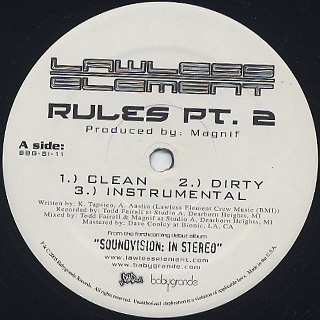 Lawless Element / Rules Pt. 2 c/w Love label
