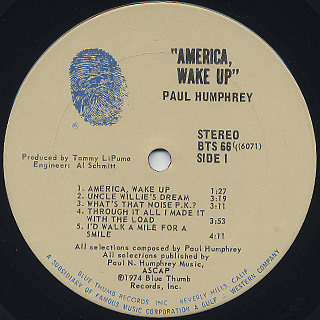 Paul Humphrey / America, Wake Up label