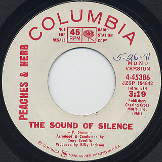Peaches & Herb / The Sound Of Silence back
