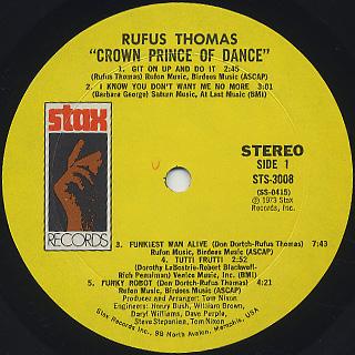 Rufus Thomas / Crown Prince Of Dance label