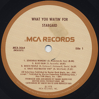 Stargard / What You Waitin' For label