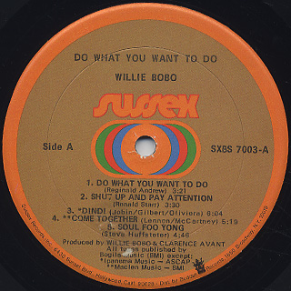 Willie Bobo / Do What You Want To Do label