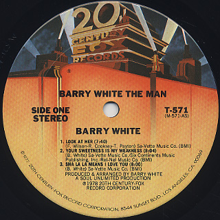 Barry White / The Man label