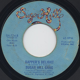 Sugar Hill Gang / Apache c/w Rapper's Delight back