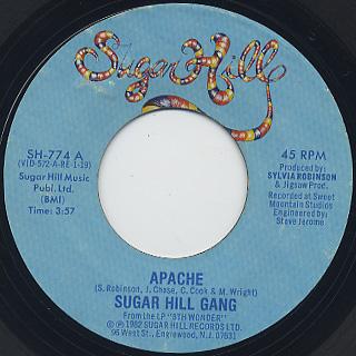 Sugar Hill Gang / Apache c/w Rapper's Delight (VG)