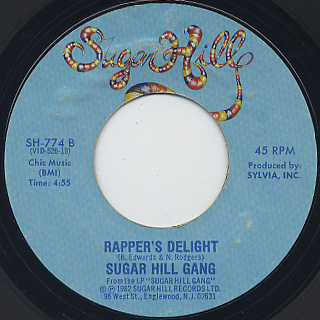 Sugar Hill Gang / Apache c/w Rapper's Delight (VG) back
