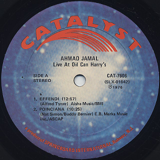Ahmad Jamal / Recorded Live At Oil Can Harry's label