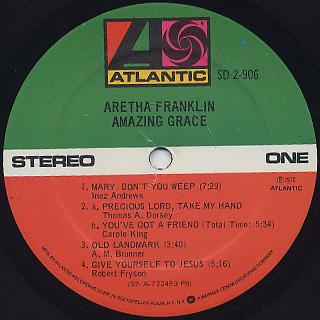 Aretha Franklin / Amazing Grace label