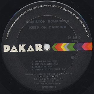 Bohannon / Keep On Dancin' label