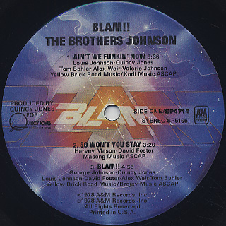 Brothers Johnson / Blam!! label