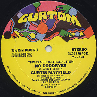 Curtis Mayfield / No Goodbyes