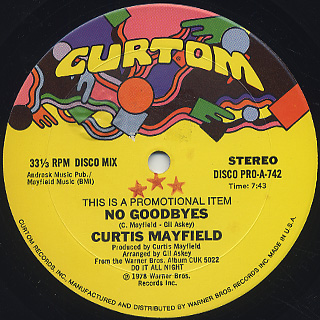 Curtis Mayfield / No Goodbyes back