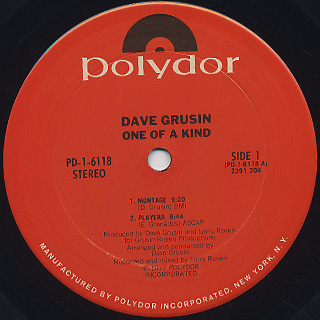 Dave Grusin / ...One Of A Kind label