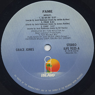 Grace Jones / Fame label