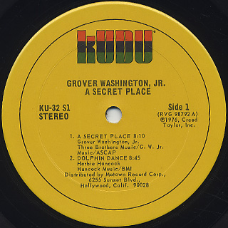 Grover Washington, Jr. / A Secret Place label