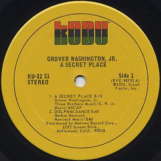 Grover Washington, Jr. / A Secret Place label
