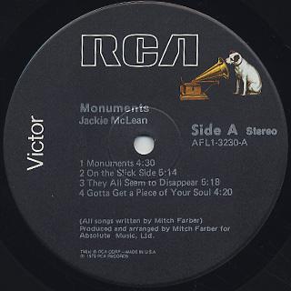 Jackie McLean / Monuments label