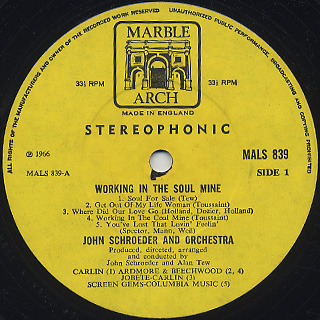 John Schroeder Orchestra / Working In The Soul Mine label