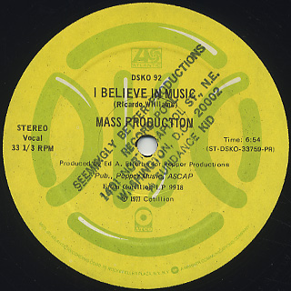 Mass Production / People Get Up c/w I Believe In Music back