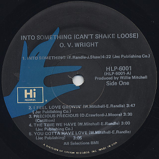 O.V. Wright / Into Something (Can't Shake Loose) label
