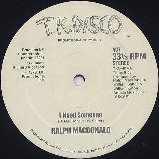 Ralph MacDonald / I Need Someone c/w Discolypso