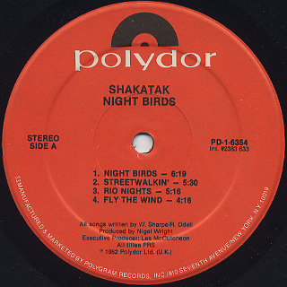 Shakatak / Night Bird label