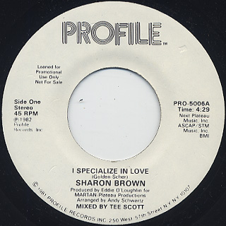 Sharon Brown / I Specialize In Love