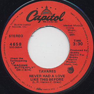 Tavares / Never Had A Love Like This Before