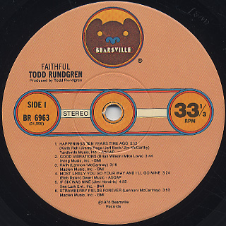 Todd Rundgren / Faithful label