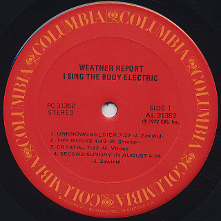 Weather Report / I Sing The Body Electric label