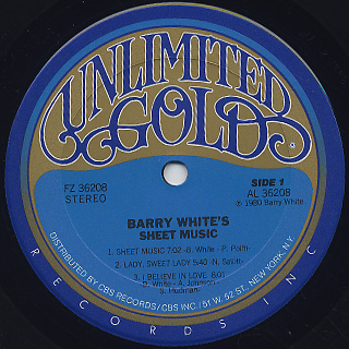 Barry White / Sheet Music label