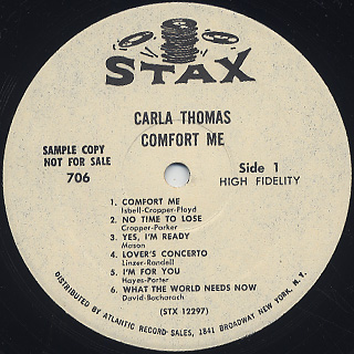 Carla Thomas / Comfort Me label