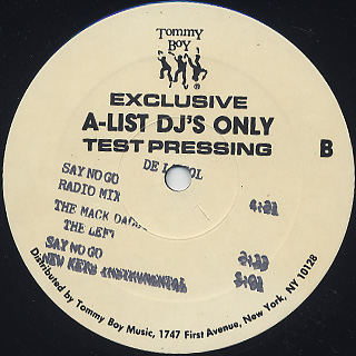 De La Soul / Say No Go Exclusive A-List DJ's Only Test Pressing back