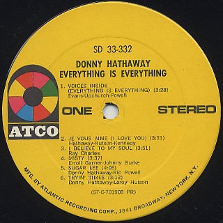 Donny Hathaway / Everything Is Everything label