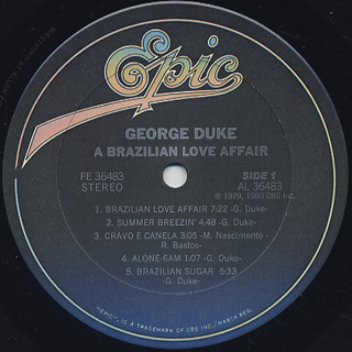 George Duke / A Brazilian Love Affair label