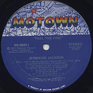 Jermaine Jackson / Feel The Fire label